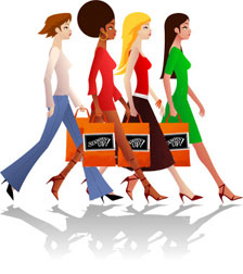 Cart ladies with shopping bags