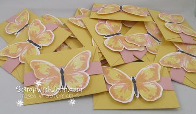 Butterfly gift card hoders in a pile