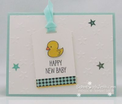 Baby card blue duck